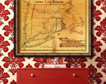"""Map of New England, 1827, Old New England map, 4 sizes up to 40x32"""" NY, CT, MA watercolor map - Limited Edition of 100"""