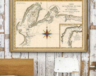 "Cook Inlet map 1788, Historical map of Anchorage, Alaska area, 27x20"" (70x50cm) or 40x27"" (100x70 cm) AK Poster - Limited Edition of 100"