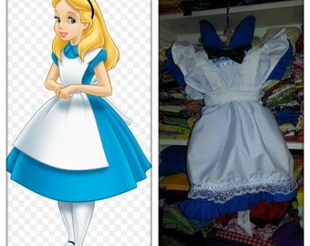 Alice in wonderland style dress set with white pinafore apron cover