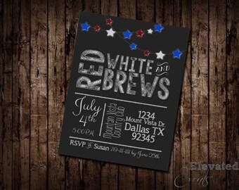 Red White & Brews Invitation