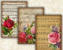 Vintage Music sheet Flower Cards Digital Collage Sheet Printable 2.5x3.5 inch size Images Gift Tags Jewelry Holders Scrapbook ATC ACEO Cards
