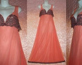 """Vintage Chiffon Nightgown Floor Length Romantic Double Nylon USA Made Gown Salmon Pink with Chocolate Lace Negligee M/Medium 32"""" to 36"""" Bust"""