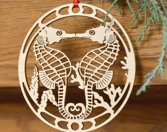 Wood Seahorse ornament wood-cut Seahorse decoration wooden sea horse ornament
