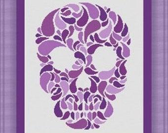SKULL head  / tete de mort - Counted cross stitch pattern /grille point de croix ,Cross Stitch PDF, Instant download