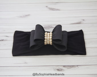 Baby Black Headband, Black Big Bow Headband, Baby Big Bow Headband, Newborn Headband, Baby Girl Headband, Nylon Headband, Bow Headband, 936