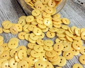 "Vintage 100 Buttery Yellow Buttons 1/2"" Across 2 Hole Plastic"