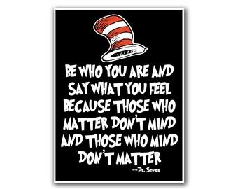 Nursery Art Dr. Seuss Poster Don't Mind Quote Print (S17)