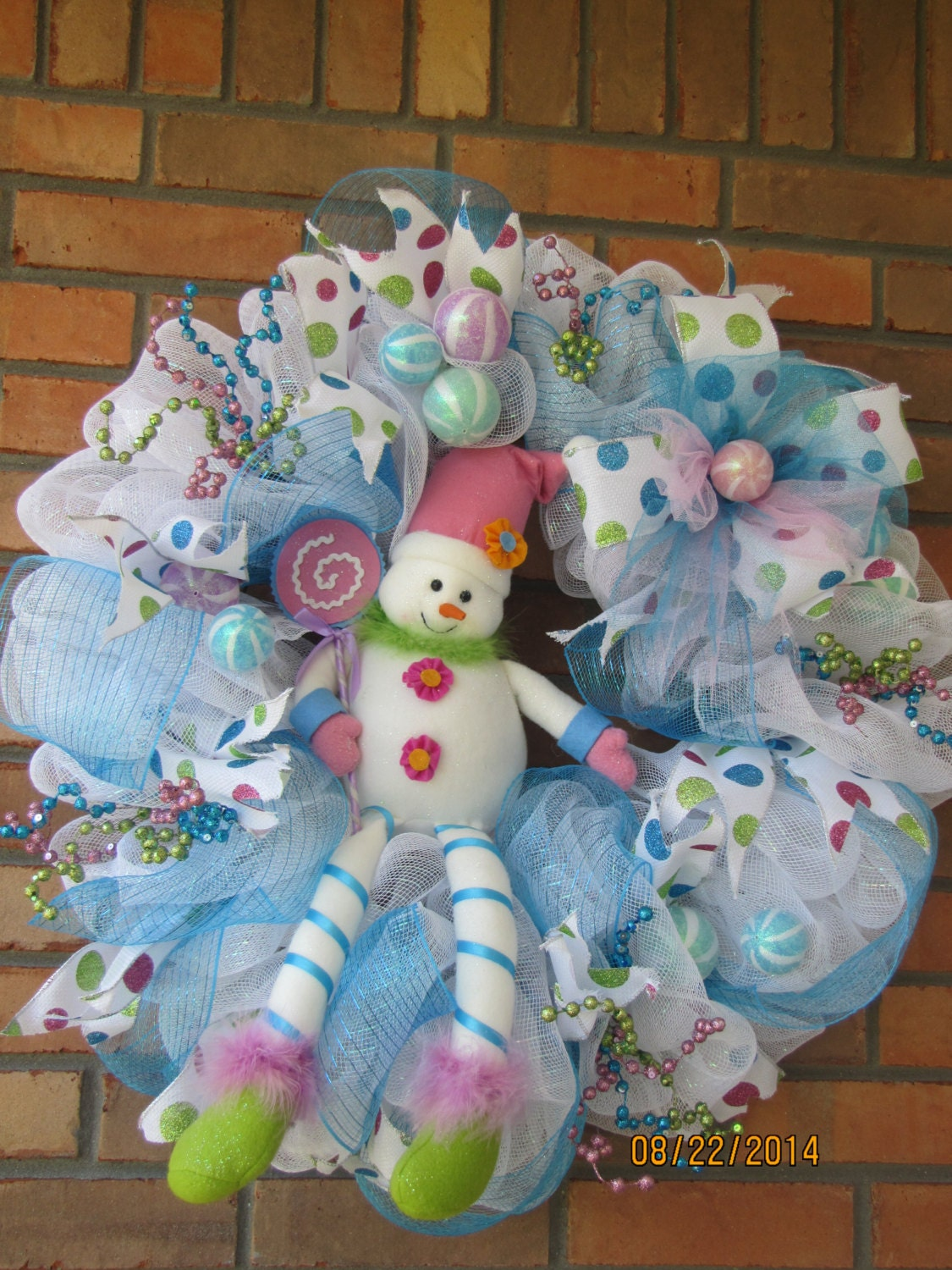 Snowman wreath- Christmas deco mesh wreath- Christmas wreath