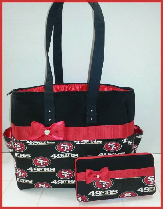 49ers diaper bag with matching wipe case bow red and black. Black Bedroom Furniture Sets. Home Design Ideas