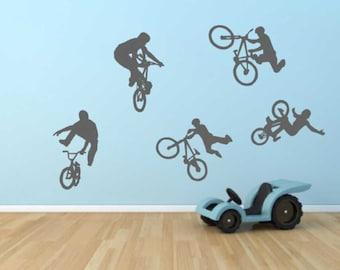 Boys Wall Decal BMX Bike Stickers Bedroom Theme Teenage Boy Bikes