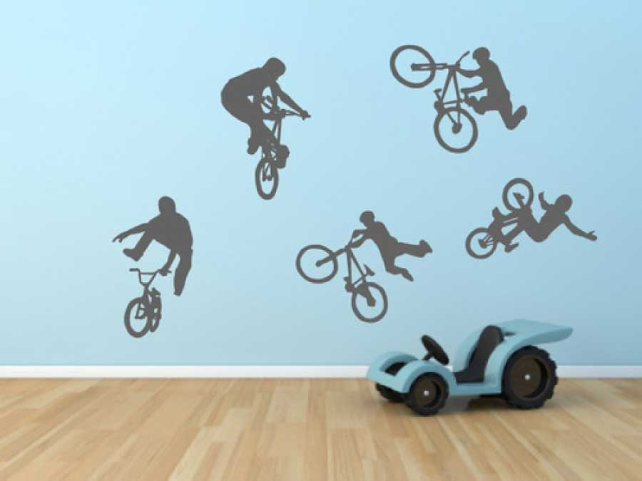 Boys Wall Decal BMX Bike Stickers Bedroom Theme Teenage Boy