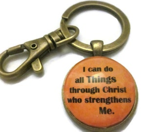 I can do all things through Christ who strengthens me keychain- Philippians 4 13