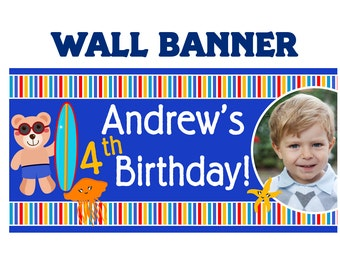 Summer Swim Happy Birthday Banner ~ Personalized Ocean Friends Photo Party Banners, Kids Birthday Banner, Printed Banner