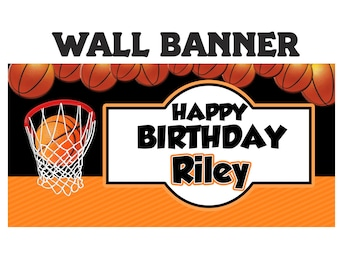 Basketball Party Banner ~ Personalize Party Banners Indoor or Outdoor Sports Banner