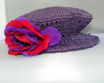 RED HAT SOCIETY Women's Purple Straw Hat with Flower
