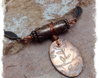 Etched Necklace Copper Leaves Handforged Wirework Necklace Etched Copper Jewelry