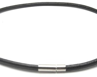 4 mm Round Leather Cord Necklace Choker Stainless Steel Insert Clasp (in Black) / Men Necklace - R102