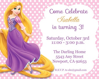 Tangled Rapunzel Invitation, Disney Princess, Kid's Birthday Party Invite, Birthday Invitation