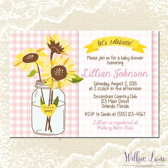 sunflower baby shower invitation mason jar baby shower invite pink
