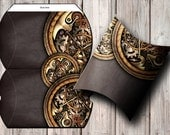 """PRINTABLE steampunk DIY pillow gift box – makes box approx. 6""""x4"""" / 15cm x 10cm – The clockwork and gears collection"""