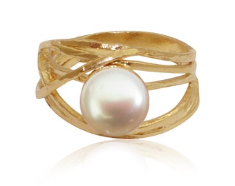 Pearl Ring | 9ct gold ring | gift for her | june birthstone ring