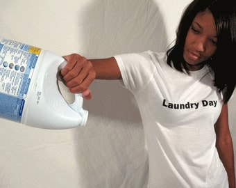 Laundry day shirt for women, Round neck, Short sleeves, Cotton shirt, Womenz shirt, White shirt