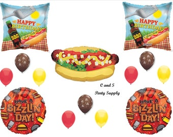 BBQ COOKOUT Happy Birthday Party Balloons Decorations Supplies Hot Dog Grilling Luau