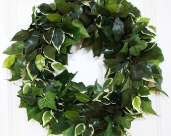 Spring And Summer All Foliage Artificial Wreath, Ficus Leaves Wreath, Green Leaf Wreaths, Birch Green Leaves Wreath