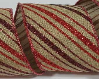 "2 1/2"" Canvas Glitter Stripes Ribbon - Toffee - 10 Yards"