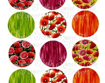 Poppy flower set of 12 cupcake toppers 2 inch