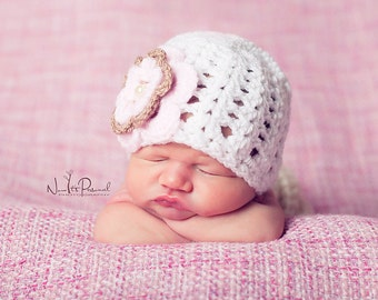 Hand Crochet Baby Hat with Flower & Pearl Photography Photo Prop Newborn- 2 Years Girls UK Seller