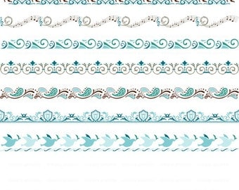 Teal Blue, Turquoise, Digital Border, Nature Clipart, Swirl, Instant Download, Embellishment, Design Element, Sun, Wave, Ocean, Dove c105