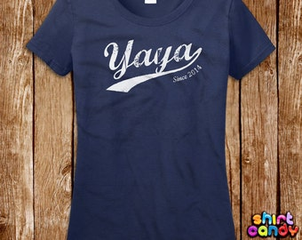 Yaya Since Tshirt Mother's Day Gift Custom Any Year For Mom Personalized Best Mom Ever Birthday Gift For Her Tee Shirt Cool Wife Expecting