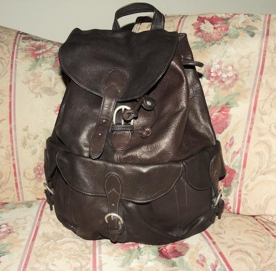 Vintage London Fog Brown Leather Backpack Hiking Backpack