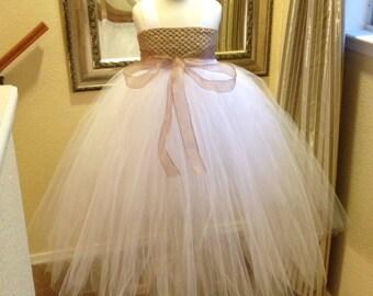 Flowergirl white & brown long dress