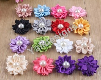 10pcs Wholesale 35mm Sunflower Flower Brooch/Flower Pearl Headdress Fabric Flower For Pin and Headband YTA01