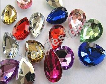 50pcs Handmade Tear Drop Acrylic Crystal  Jewelry Accessories 13mm*18mm YTB44