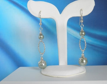 Teal Glass Pearl Earrings