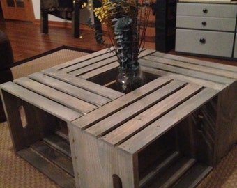 Handmade Belle Wood Wine Crate Coffee Table- Cottage Cape Cod Style