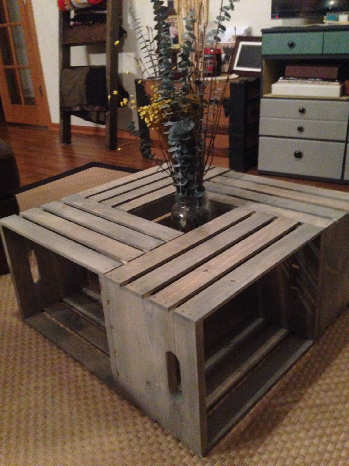 Handmade Belle Wood Wine Crate Coffee Table- Cottage Cape Cod Style - Crate Coffee Table Etsy