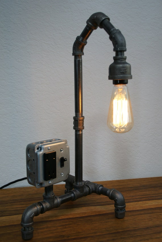 Items similar to vintage style iron pipe desk lamp w usb for How to make an industrial lamp