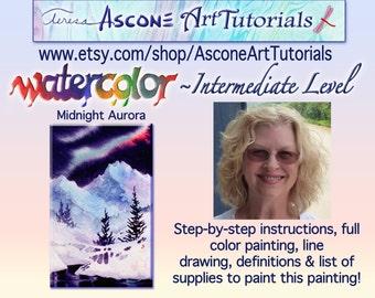 Ascone Intermediate Watercolor Tutorial-Midnight Aurora