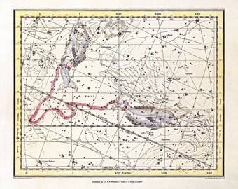 Pisces constellation, Celestial Map,Constellation map, Heavens map, Stars map, Astronomical map, Astrology print.
