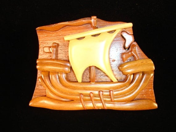 Hand carved wood art intarsia viking ship puzzle by