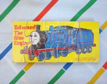 Vintage 1986 Thomas the Tank Engine solid thick wooden 5 piece jigsaw puzzle 1980s retro train toy 80s Edward the Blue Engine (number 2)