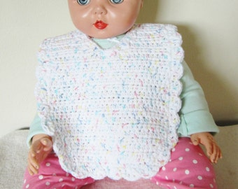 Baby bib is hand made using a crochet stitch with a white cotton yarn with multicolored specks & white button closure;great baby shower gift