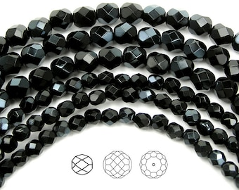 Jet Velvet half coated, Czech Fire Polished Round Faceted Glass Beads, 4mm, 6mm on 16 inch strand, black with slight silver metallic coating