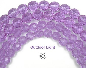 10mm (41pcs) Violet purple, Czech Fire Polished Round Faceted Glass Beads, 16 inch strand