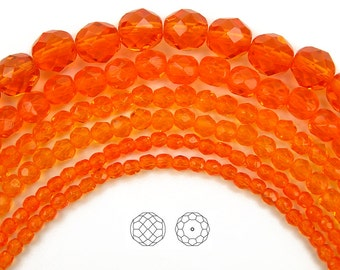 10mm (41pcs) Sun, Czech Fire Polished Round Faceted Glass Beads, 16 inch strand
