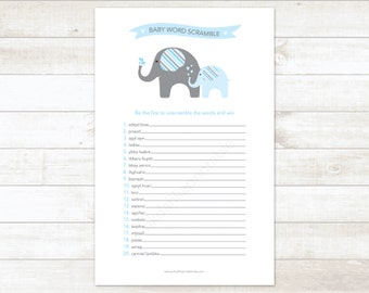 baby shower word scramble game baby boy shower game blue elephant baby scramble word scramble - INSTANT DOWNLOAD